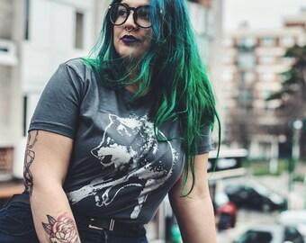 wolf t-shirt, feminist, silver wolf t shirt, plus t-shirt, wolf tee, womens gray tee, American apparel XXL