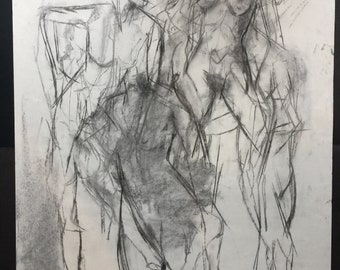 original life drawing• charcoal•medley of charcoal life sketches on paper
