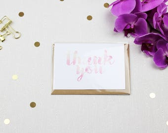 Floral Thank You Greeting Card with Envelope