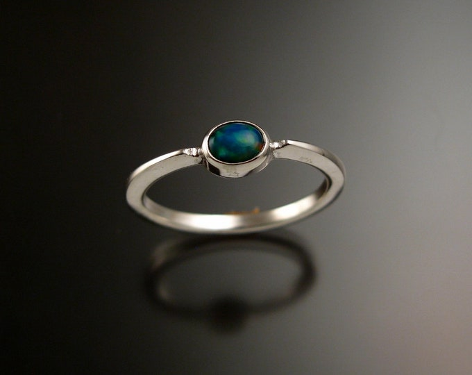 Blue Opal 4x5mm oval stone ring 14k white Gold and natural Ethiopian Opal stacking ring Made to order in your size