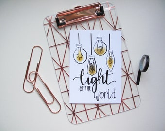 Light of the World- Postcard-A6-White Card- Lightbulb Illustration- Black Hand Lettering-Single-