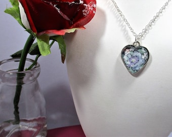 Vintage blue Liberty fabric glass heart pendant - hand made.  Mothers's Day, Bride gift, Something blue