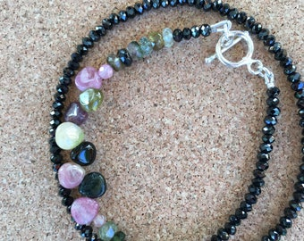 Spinel and tourmaline double bracelet