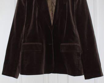 VTG 80s Velvet Brown Fitted Fully Lined Button-up Blazer
