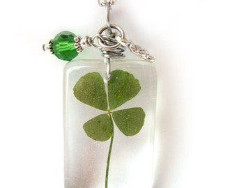 Real Four Leaf Clover Necklace - Real 4 Leaf Clover  Encased in Resin - Pressed Flower Jewelry - Resin Necklace - Wire Wrapped Pendant