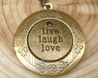 Antique Brass Live Laugh Love Locket Necklace Victorian Jewelry Gift Vintage Style