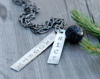 Naughty or Nice Necklace, Black Lava Pendant, Lump of Coal Necklace, Christmas Necklace, Stamped Silver Bar Necklace, Fun Gift for Wife