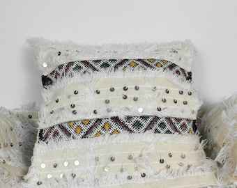 2 cushion covers handira white sequins