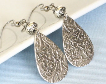 Silver Teardrop Earrings - Embossed, Flower Earrings