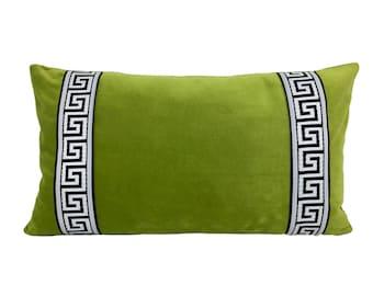 Green Velvet Pillow Cover with Black Greek Key Trim