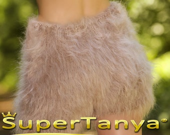 Made to order hand knit shorts, thick and fuzzy mohair short pants in beige by SuperTanya