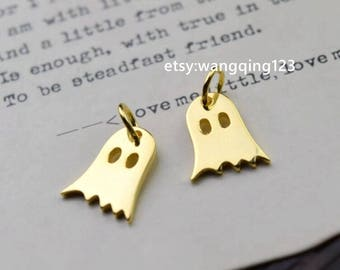 2 pcs gold ghost halloween charm pendant in 925 sterling silver, NR3