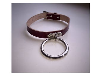 Burgandy Large Ring Choker