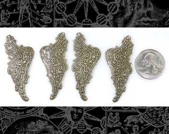 Silver Filigree Brass Angel Wings - Two Sets of Wings * S-P34
