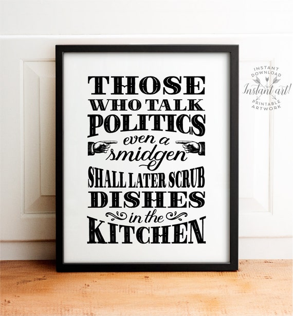 No Politics Sign Holiday Decor PRINTABLE Art Kitchen Dining Room Family Rules Political