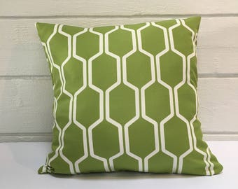 Green & White Cell Outdoor Cushion
