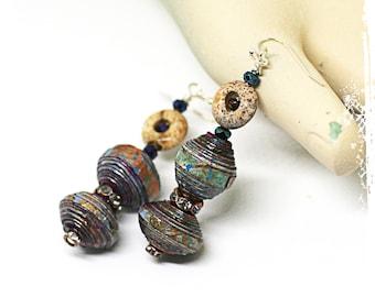 Boho earrings for women, Multicolor tribal earrings, Rustic bohemian paper bead earrings, Chunky dangle earrings, Earthy neutral jewelry