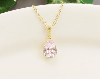 Light Pink Necklace - Swarovski Necklace Gold - Wedding Jewerly - Teardrop Necklace for Bridesmaids - Bridesmaid Jewerly - Swarovski Jewelry
