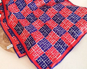 Vintage Vera Neumann Red White and Blue Geometric Graphic Print Long Scarf 1960s
