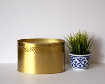 Vintage Brass Planter Decorative Brass Planter Metal Planter Indoor Planter Oval Planter Vintage Brass decor