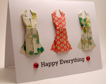 Origami Dress Happy Everything card (red)