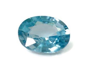 Natural Blue Zircon Gemstone Faceted Blue Zircon Loose Stone December Birthstone Genuine  Cambodia Blue Zircon Stone 3.36ct   10x7mm