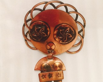 Copper African Woman Brooch #25