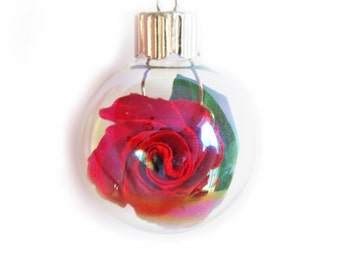 Glass Ornament Rose Origami Ornament Small Glass Bulb