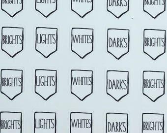 Laundry Whites, Brights, Darks, Light Vinyl Functional Planner Sticker