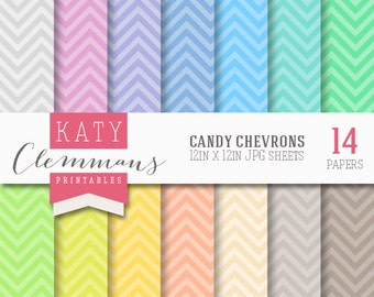 CANDY CHEVRON digital paper pack, scrapbook printable sheets - instant download.