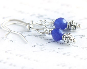 Statement Jewelry Birthstone Earrings Sterling Silver Wire Wrapped Blue Sapphire Tiny Dainty Little Earrings Dangle Earrings Modern Earrings