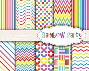 Instant Download Rainbow Color Digital Paper Rainbow Digital Scrapbook Paper Pack Rainbow Dots Rainbow Chevron Rainbow Party DIY 0166