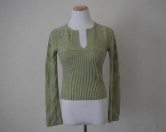 Vintage women's top ribbed minimalist plain green sweater long sleeve acrylic size M