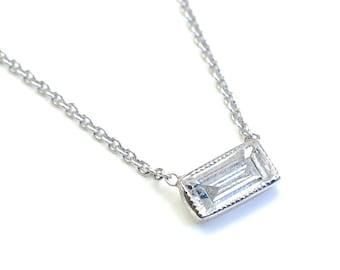 Diamond Necklace, Baguette Diamond, Solitaire Necklace, Baguette Diamond and White Gold Milgrain Solitaire Necklace, Vintage Style, Nixin