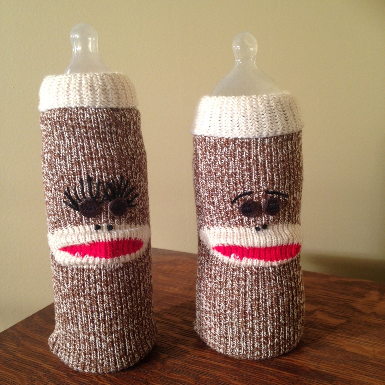 Sack Monkee Baby Bottle Cover Sock Monkey Nursery Bottle