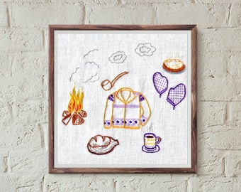 hand embroidery patterns, cabin fever, modern embroidery, contemporary, beginner pattern, interior diy, modern embroidery, rustic