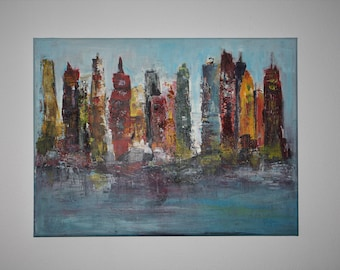 "Abstract acrylic Painting 60 x 80 cm, Title: ""Skyline"""