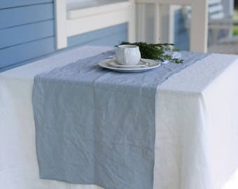 Handmade linen table runner in Greyish Blue