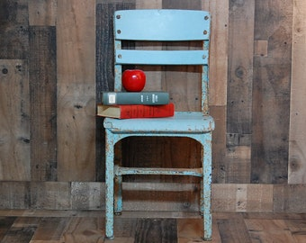 Vintage Childs Chair, vintage blue school chair, metal and wood 1940's school house childs chair, farmhouse chair, industrial chair, nice