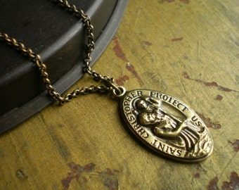Bethsaida St Christopher Solid Brass Pendant Necklace
