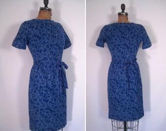 1960s blue folk art floral print wiggle dress • 60s flower print belted short sleeve sheath dress • vintage mid-century Lanz dress