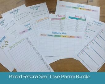Printed Personal size TRAVEL planner inserts - printed personal size inserts - Holiday planner - Vacation planner - medium kikki k filofax