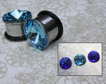 "Jumbo Swarovski plugs / tunnels large crystal stainless steel for gauged / stretched ears Sizes: 1/2"", 9/16"", 5/8"""