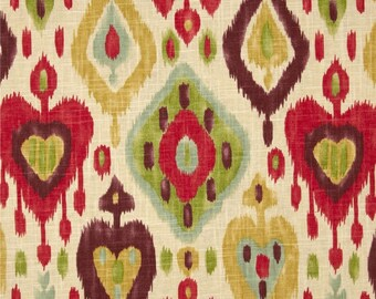 Ready to Ship 16x16 Zipper Closure Richloom Django Ikat Jubilee gold aqua red plum ivory Linen ONE pillow cover Throw Decorative pillow
