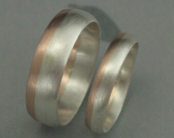 Modern Rounded Two Tone Wedding Band Set--Bimetal Wedding Ring Set--Rose Gold and Silver Two Tone Wedding Bands--His and Hers Bands