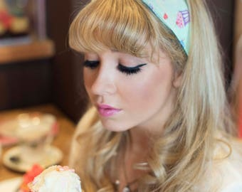 Cupcake Wire Headband, Dolly Bow, 1950s Pin Up Rockabilly Hair Wrap, Twist Hair Scarf, Bandana, Cupcake Headband- In 4 Colours