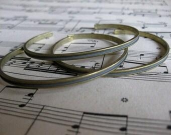 1 PC Raw brass petite channel bangle cuff bracelet 1/8 inch wide - B770