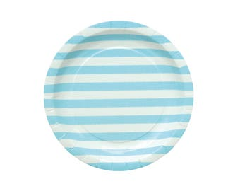 10 Blue Striped Paper Plates Blue Party Plates Blue Baby Shower Plates Baby Boy Party Plates Blue Birthday Party Plates Dinner Paper Plate