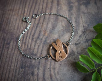copper rabbit rustic bracelet, nature inspired delicate jewelry, woodland stories, hare, bunny bracelet, rustic wedding, gift for her