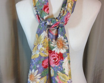 Purple Pink and Beige Long Silk Scarf with Flowers 10.25 Inches wide 55 Inches Long Previously 18 Dollars ON SALE
